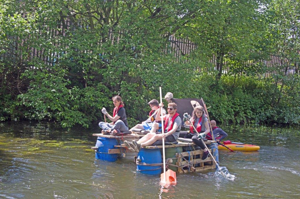 junk scrap boat challenge yorkshire waterfront leeds canal river aire open source arts kirkstall creative waste recycle team building race teamwork build